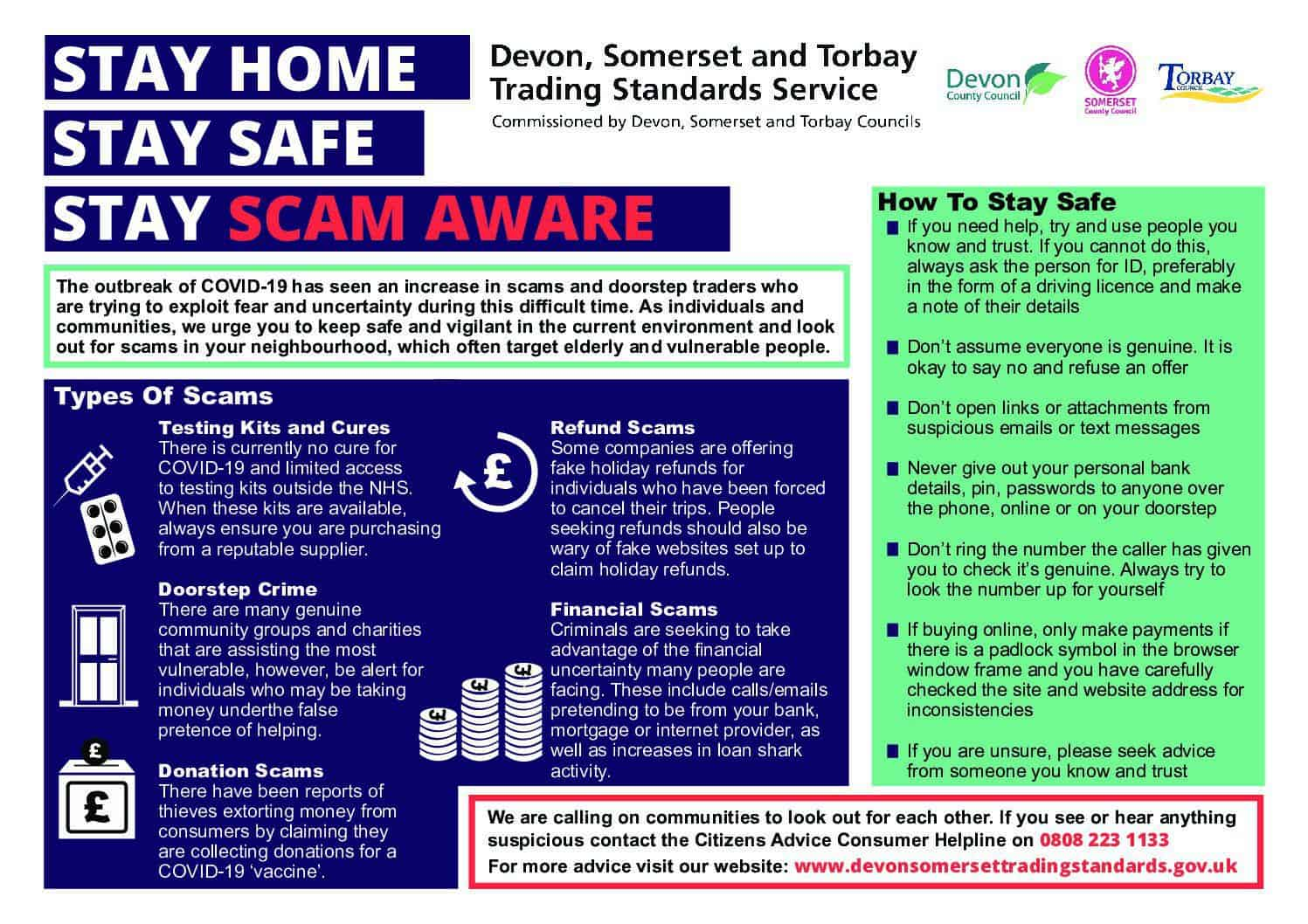 Scams to watch out for – COVID 19 – April 8th
